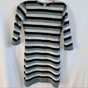 Gray striped sweater crewneck dress 3/4 sleeves: M